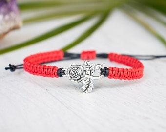 Rose flower bracelet, silver tone rose bracelet, rose jewelry, rose flower, long stem rose, bridesmaid gift