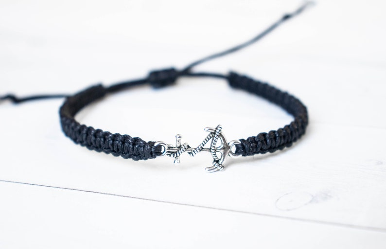 Small Anchor with Rope Bracelet Jewelry Navy Wife Nautical image 0
