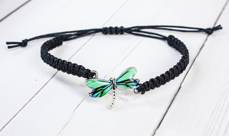 Dragonfly Bracelet with Blue and Green Wings Dragonfly Gift Black