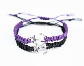 Anchor Couples Bracelets, Matching Bracelets, Purple and Black Friendship Bracelets Set Couples Gift Best Friend Gift