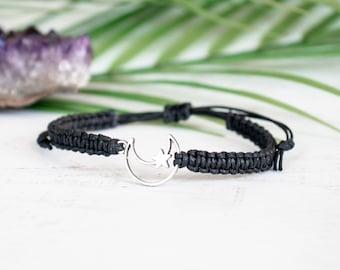 Hollow Moon Star Bracelet - Moon Jewelry, Gift for Women or Men, Celestial Jewelry, Luna Bracelet, Astrological, Planet Jewelry