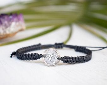 Eye of Horus Medallion Bracelet, Egyptian Bracelet, Yoga Bracelet,  Meditation Bracelet,  Om Jewelry, Zen, Enlighten, Spiritual Jewelry