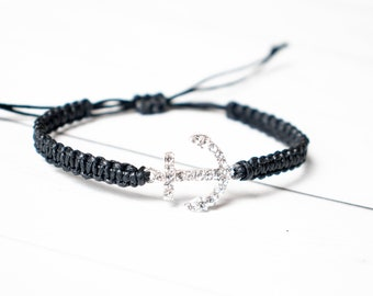 Large Rhinestone Anchor Bracelet Jewelry, Navy Wife, Nautical Bracelet, Sailor Bracelet, Navy Bracelet, Sea Jewelry