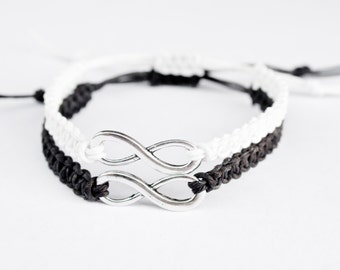 Infinity Friendship Bracelets Black and White, Hemp Bracelet, Best Friend Bracelet, BFF Bracelet, Best Friend Gift, Unique gifts for Friends