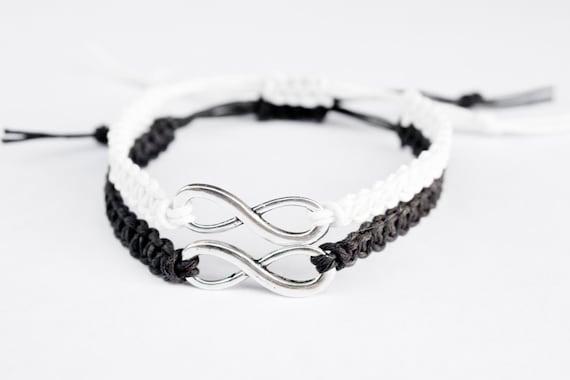 Redwhite blue  hemp infinity bracelet  macrame and silver freindship