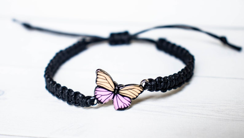 Peach and Pink Butterfly Bracelet  Butterfly Jewelry Gift Black