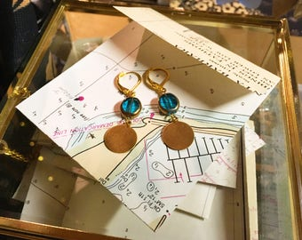 Turquoise and Gold Dangly Earrings