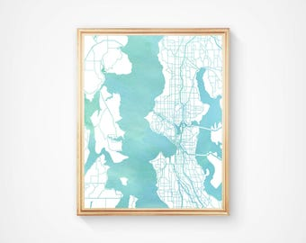 Seattle Washington Puget Sound Street Map - Wall Art Print - I Love the Pacific Northwest - Gift Souvenir - Watercolor Series