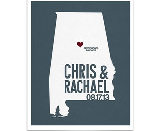 Alabama Wedding Gift - Personalized State and City Heart - Anniversary - Custom Wedding Date - Modern Art Print - 8x10 Birmingham Montgomery