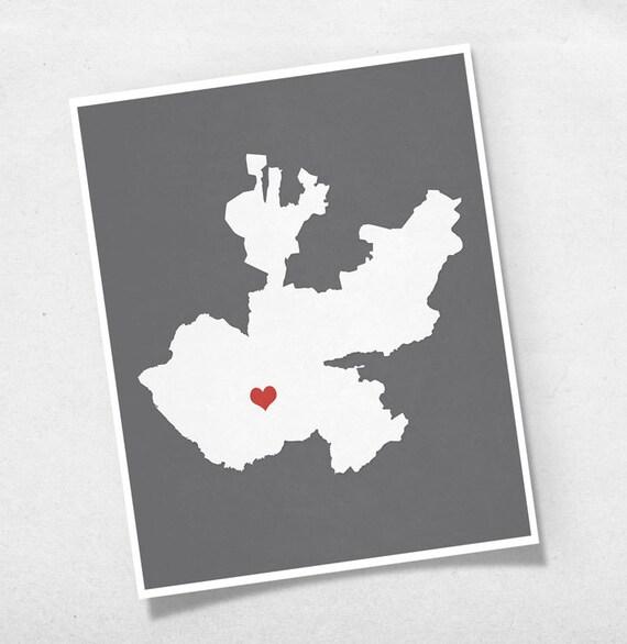 Jalisco Mexico Map Custom Personalized Heart Print I Love Etsy