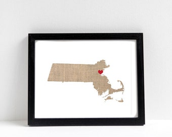 Massachusetts or ANY STATE Natural Art Print - State Art Print - Home Sweet Home - Boston Massachusetts Art Print