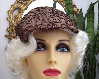 Vintage 1950s Cocktail Hat Brown with Braided Piping, Ribbon all over design