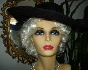 Vintage 30s or 40s Lg Brim Black Felt Hat Brass Buttons