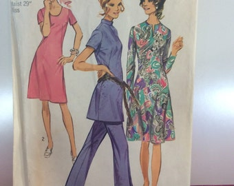Mod Shift Dress Tunic Pant Suit Vintage 1970 Simplicity Sewing Pattern #9503 Bust 38 Waist 29