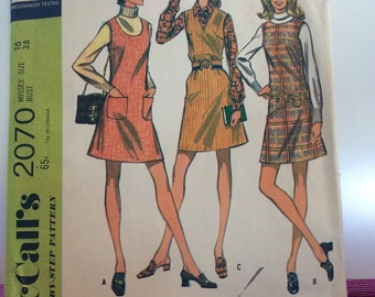 McCall's Vintage 1960s Mini Dress Jumper Quickie Pattern Bust 38