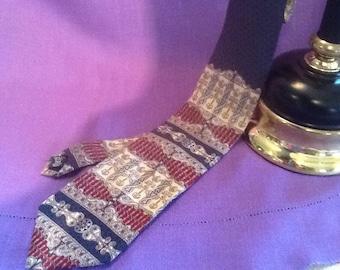 BILL BLASS Men's Silk Tie Navy Blue, Wine, Tan, Art Deco Print