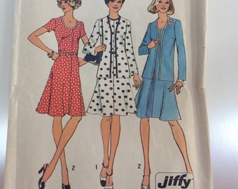 Vintage 1970s Polka Dot Jacket Flared Flrty Dress Simplicity Pattern 6749 Bust 36