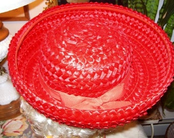 Vintage 1960s Red Straw Brim Hat Designed by Amy of NY.  Madeline Style