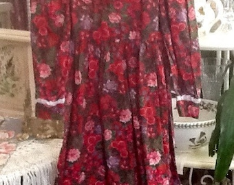 Michaela New England Common Sense Designs Girls Floral Print Dress sz 6