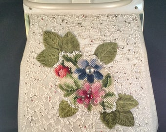 Vintage 1940s Floral Beaded Purse with Needlepoint Retro Chic Stunning