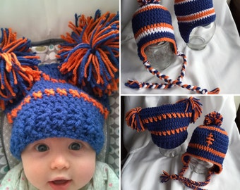 PomPom Hat ~ Earflap Hats ~ Newborn Hats ~ Team Beanies ~ Baby Hat ~  Toddler Hat ~ Custom Crochet Hats ~ Girl or Boy Hats ~ College Colors b154a9a4e8d3