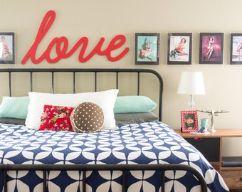 Above Bed Decor Love Sign - Wooden Large Love Sign - Master Bedroom Wall Decor - Personalized Wood Word Sign For Bedroom
