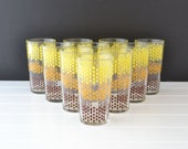 Mid Century Tumbler - Drinking Glass - Connected Dots - Atomic Pattern - Yellow, Orange and Brown Colors - Set of 10