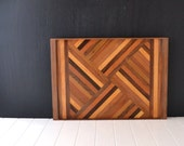 Mid Century Wood Tray - Rectangle Tray - Parquet Wood Tray - Diagonal Basketweave Pattern - Geometric Ottoman Tray