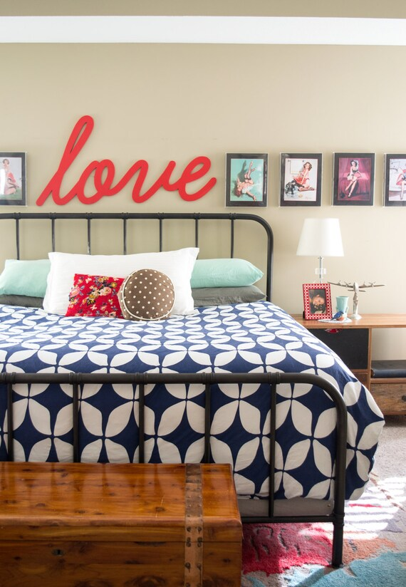 Love Sign Above Bed Decor Master Bedroom Wall Decor Large Etsy