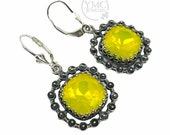 Sterling Silver Leverback Yellow Opal Crystal Earrings,Pageant Glitter Fusion Prom Earrings,Opalescent Crystal Bridesmaid Dangle Earrings