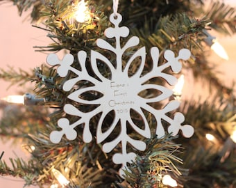 Personalized baby's first Christmas wood snowflake ornament