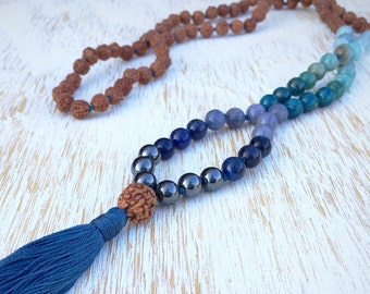 Mala Necklace, Rudraksha Mala, Mala Bead Necklace, Gemstone Mala, 108 Mala Beads, Buddhist Jewelry, Prayer Beads, Mala Beads, Mala Beads 108