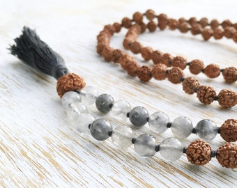 LAST ONE! Gray Quartz Rudraksha Mala Necklace, Mala Beads, 108 Mala Beads, Rudraksha Mala, Boho Jewlery Mala Beads Necklace Buddhist Jewelry