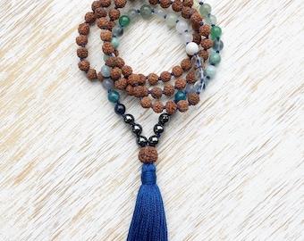 Rudraksha Mala, Mala Necklace, Blue Multi Gemstone Mala, Mala Beads 108, Rudraksha Necklace, Prayer Beads, Buddhist Jewelry, 108 Mala Beads