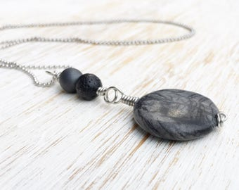 Wire Wrap Pendant Necklace, Jasper Hematite Lava Stone Necklace, Gemstone Necklace, Boho Jewelry, Wire Wrap Necklace, Long Boho Necklace