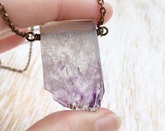 Amethyst Necklace, Crystal Necklace, Brass Jewelry, Amethyst Slice, Gemstone Necklace, Wire Wrapped Jewelry, February Birthstone Necklace