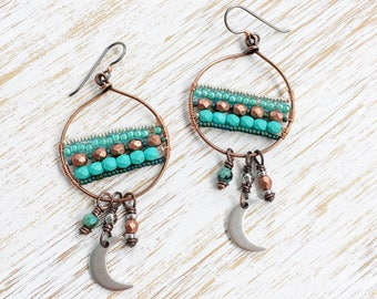 Jasper Moon Earrings, Turquoise Boho Earrings, OOAK Hypoallergenic Niobium Earrings, Copper Earrings, Goddess Earrings, Beaded Earrings