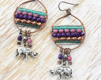 Elephant Earrings, Boho Jewelry, OOAK Hypoallergenic Niobium Earrings, Copper Earrings, Boho Earrings