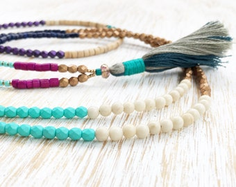 Mala Necklace, Beaded Necklace, Long Necklace, Wrap Necklace, Boho Necklace, Colorful Beads, Riverstone Necklace, Petite Necklace, Bohemian