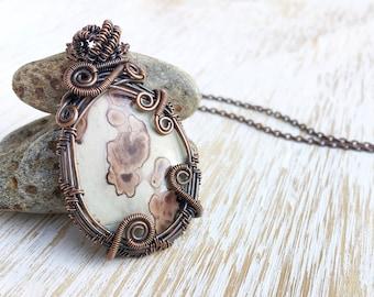 Wire Wrapped Jasper Pendant, Elven Jewelry, Antique Copper Necklace, Fantasy Necklace, Wire Wrapped Jewelry, Fairy Necklace, Wire Wrap Stone