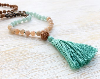 Amazonite Mala, Moonstone Mala Beads, Smokey Quartz Mala, Mala Necklace, Mala Beads 108, Mala Bead Necklace, Rudraksha Mala, Tassel Jewelry