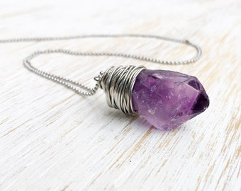 Raw Amethyst Necklace, Wire Wrap Rough Amethyst Pendant Necklace, Purple Gemstone Necklace, Long Boho Necklace, February Birthstone Jewelry
