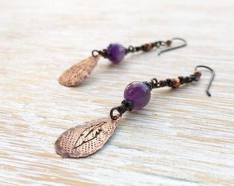 Amethyst Earrings, Feather Earrings, February Birthstone, Hypoallergenic Niobium Earrings, Gemstone Earrings, Boho Earrings, Purple Earrings