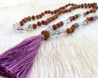Fluorite Rudraksha Mala, Mala Necklace, Gemstone Mala Beads, Mala Beads 108, Mala Bead Necklace, Long Boho Necklace, Rudraksha Necklace