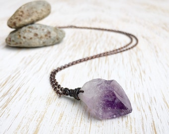 Raw Amethyst Point Necklace, Earthy Copper Jewelry, Wire Wrapped Jewelry, Purple Amethyst Wire Wrap Necklace, Long Raw Gemstone Necklace