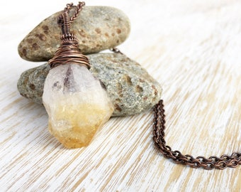 Raw Citrine Point Pendant, Wire Wrapped Pendant, Antique Copper Necklace, Citrine Necklace, Wire Wrapped Jewelry, Wire Wrap Stone Pendant