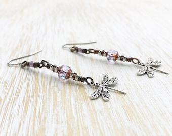 Dragonfly Earrings, Dragonfly Jewelry, Summer Earrings, Stainless Steel Earrings, Earrings Handmade, Dangle Earrings, Duster Earrings