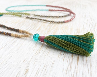 Serpentine Necklace, Mala Necklace, Beaded Necklace, Long Necklace, Tassel Necklace, Boho Necklace, Colorful Beads, Petite Necklace Bohemian