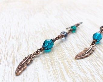 Feather Earrings, Hypoallergenic Niobium Earrings, Copper Jewelry, Designer Glass Earrings, Dangle Earrings, Tribal Earrings, Boho Jewelry