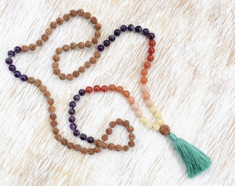 Mala Necklace, Mala Beads 108, Rudraksha Mala, Mala Beads Necklace, Calcite Aventurine Carnelian Amethyst Gemstone Mala, Sunset Mala Beads